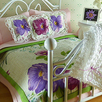 Miniature 1:12 Scale Multi Color Floral Handmade Dollhouse Quilt, Matching Decorator Pillows, Pink Sheet Set, Bed Pillows, Crocheted Afghan