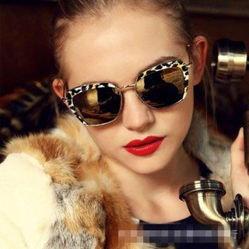 2016 New Cat Eye Aviator Sunglasses Women Vintage Fashion Metal Frame Mirror Sun Glasses Unique Flat Ladies Sunglasses Uv400 211