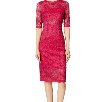 ML Monique Lhuillier Sheer Lace Sheath