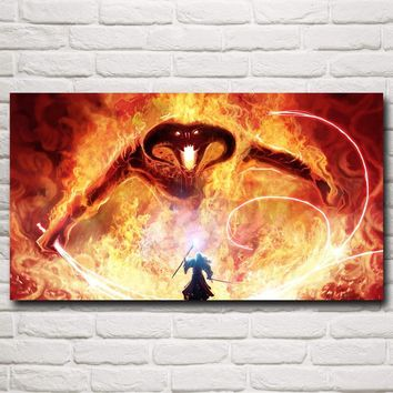 Gandalf The Lord of the Rings Balrog Fantasy Movie Art Silk Poster Home Wall Decor Painting 11x20 16x29 20x36 Inch Free Shipping