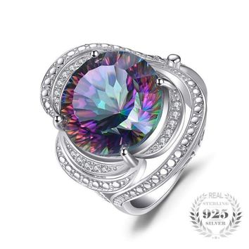 Rainbow Fire Mystic Vintage Charm Topaz Ring 925 Sterling Silver