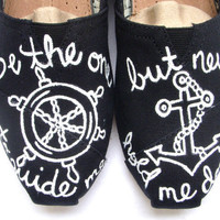 The Anchor  Black and White Custom TOMS by FruitfulFeet on Etsy