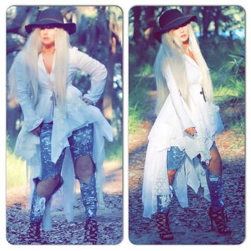 White lace Kimono, Retro Madonna style, Boho chic jacket, high low duster, True Rebel Clothing Medium