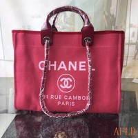 679 Fashion Canvas Embroidered Chain Tote Casual Large Shopper 37-30-18cm