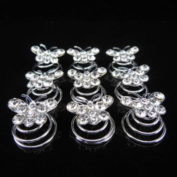 20PCS Girl Unique Hair Accessories Jewelry Rhinestone Crystal Bridal Twist Hair Pin Butterfly Hair Spirals Wedding Hairpins Clip