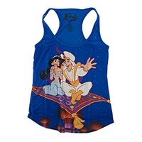 Disney Aladdin Magic Carpet Juniors Blue Tank Top Shirt | L