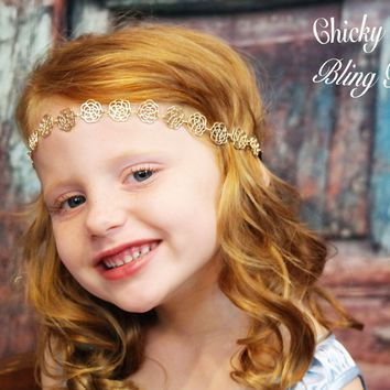 Girls Golden Hippie Flowers Chain Headband