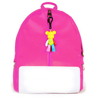 Hot Pink Candy Color Bear Puller Kids School Bag