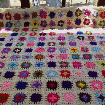 Handmade chunky crochet blanket   Made in tradition by nannycheryl