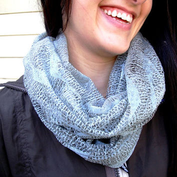 Infinity Scarf - Ocean Waves Pattern - Sea Green, Light Mint, Celadon Neutral Colour - Lacy Waves Pattern