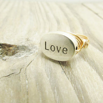 Custom love Ring Holiday Christmas Romantic Mother Gift Wire Wrap Ring Silver Rose Gold Filled Wire Wrap silver customized  Ring  Any Size