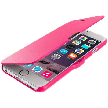 Hot Pink Magnetic Flip Wallet Case Cover Pouch for Apple iPhone 6 Plus 6S Plus (5.5)