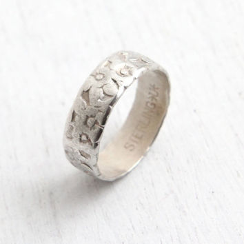 Vintage Sterling Silver Repousse Flower Ring - Size 7 1/2 Floral Eternity Cigar Band Forget Me Not Jewelry Hallmarked Uncas