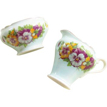 Vintage Cottage Aynsley Purple Pansy Blue Bone China Cream and Sugar Bowl