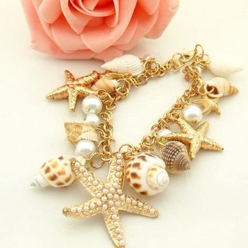 Women Fashion Ocean Style Multi Starfish Sea Star Conch Shell Simulated-Pearl Chain Beach Bracelets & Bangles Jewelry