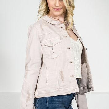 Dear John Pale Pink Denim Jacket