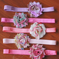 Baby Girl Headband Set - 5-Pack Floral Print Gift Set Shabby Chic Hair Bows - Easter Basket Gift, Birthday Party Favors, Baby Shower Gifts