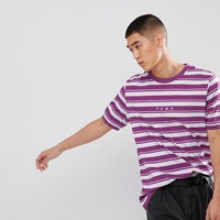 Puma Retro Striped T-Shirt In Purple Exclusive To ASOS at asos.com