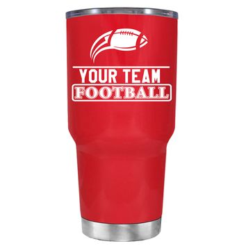 TREK Personalized Football Team on Red 30 oz Tumbler Cup