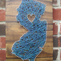 String Art State, Any State, New Jersey, Home is Where the Heart Is, Nail and String Art, 2 Colors