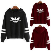 DCCKVQ8 Armani' Unisex Sport Casual Stripe Eagle Letter Pattern Print Long Sleeve Hooded Sweater Couple Sweatshirt Hoodie Tops