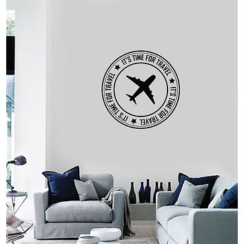 Vinyl Wall Decal Time for Travel Tourist Agency Postal Stamp Traveller Stickers Mural (ig6039)