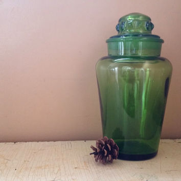 Green Glass Large  Apothecary Canister Mid Century Glass Ground Glass Lid