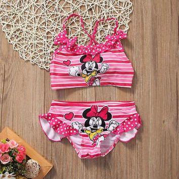 DCCKNY6 2Pcs/set Toddler Kids Swimming Customes Baby Girls Tankini Bikini Set Swimwear Summer Beach Cute Swimsuit Bathing Suit