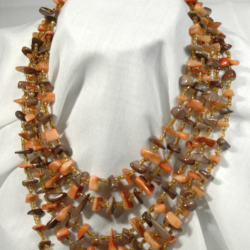 Stone Choker Cascading 5 Rows Tumbled Stone And Bead Coral Mother of Pearl Necklace Made In Japan 1940 to 1950 Collectable