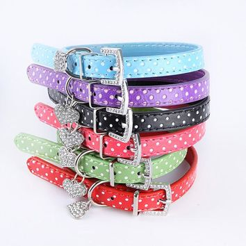 Lovely Small Pets Dog Cat Collar Polka Dot Pattern Dog Collar Heart Crystal Pendant