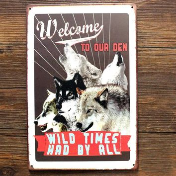 """Welcome To Our Den"" metal dog sign 20x30cm"