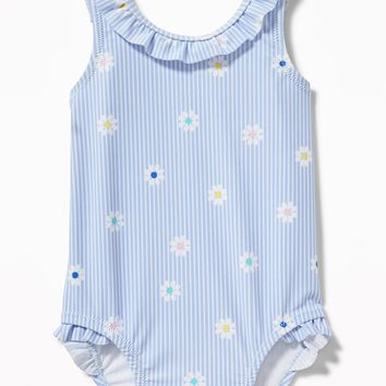Patterned Ruffle-Neck Swimsuit for Baby|old-navy