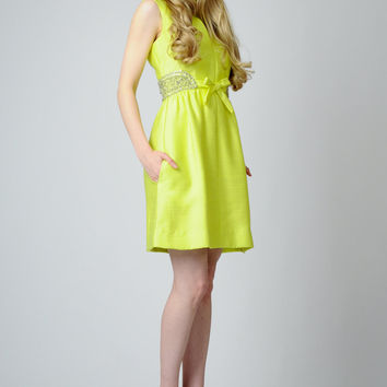 vintage 60s BEADED neon CHARTREUSE cocktail Mini Dress S S/M yellow lime pockets party