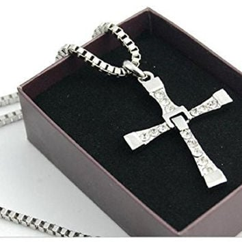1 X Cyqun(TM) Fast And Furious Dominic Toretto'S Cross Pendant Necklace Vin Diesel Silver Plated