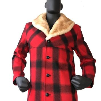 Wool Car Coat With Mouton Shawl Collar Style #2400 MENS