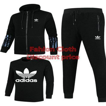 Adidas Jacket Sweater New Style Fashion Trend Three-Piece Suit For Men 18928 L-4XL Black