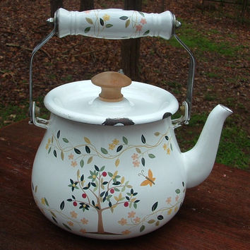 ZERO SHIPPING! Vintage  Enamel Ware Teapot Chippy White w/Spring Tree & Blossoms - Very Shabby Chic!