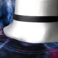 Thick Adjustable Plain Black Leather Choker