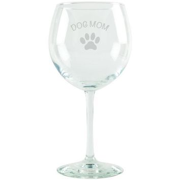 CREYCY8 Dog Mom Etched Red Wine Glass