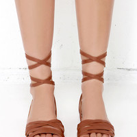 Desert Highness Tan Leg Wrap Sandals