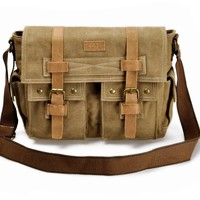 "ZLYC Vintage Mens Casual Canvas Leather Handbag Satchel Messenger Single Shoulder Bag Bookbag Fits iPad Air or 11"" Laptops Khaki"