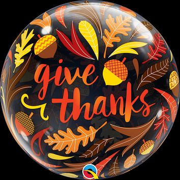 Give Thanks Acorns and Leaves Bubble Balloon