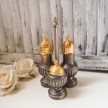 Vintage Silver Salt and Pepper and Sugar Set, Fancy Metal Ornate with Gold Serving Trio, Cottage Chic, Distressed, Small Sugar Bowl, Gifts