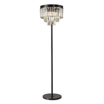 Palacial 3 Light Floor Lamp In Oil Rubbed Bronze And Clear Crystal Oil Rubbed Bronze