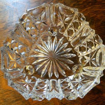 Vintage Triangular Pressed Glass Footed Bowl - Unique Shape - Perfect Candy Dish