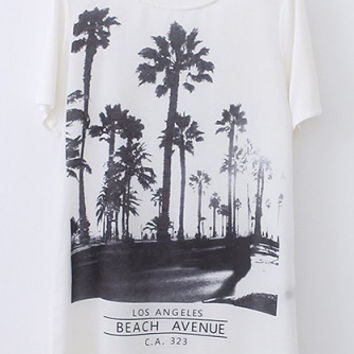 Tropical Printed White Short Sleeve Loose Fitting T-Shirt