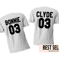 bonnie clyde tshirts set, matching couples shirts, bonnie clyde shirt set, bonnie clyde 03 white tshirts set, anniversary gift
