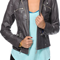 Jou Jou Charcoal Grey Faux Leather Zip Up Jacket at Zumiez : PDP