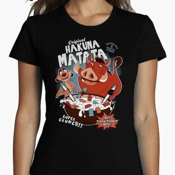 2017 Summer Recommend girl t shirt Original Hakuna Matata short O neck Novelty Knitted anime Print