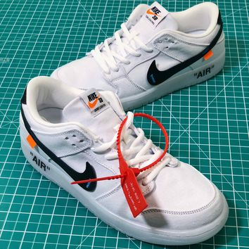 Off White X Nike Nike Dunk Low Pro Sb White Canvas Shoes - Best Online Sale
